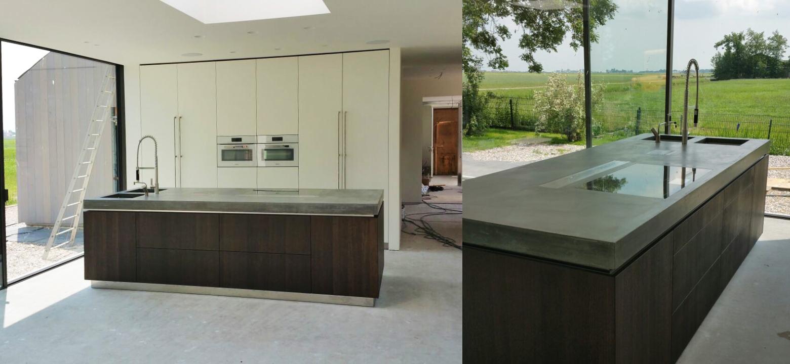 Interieurarchitectuur keuken, betonnen aanrechtblad