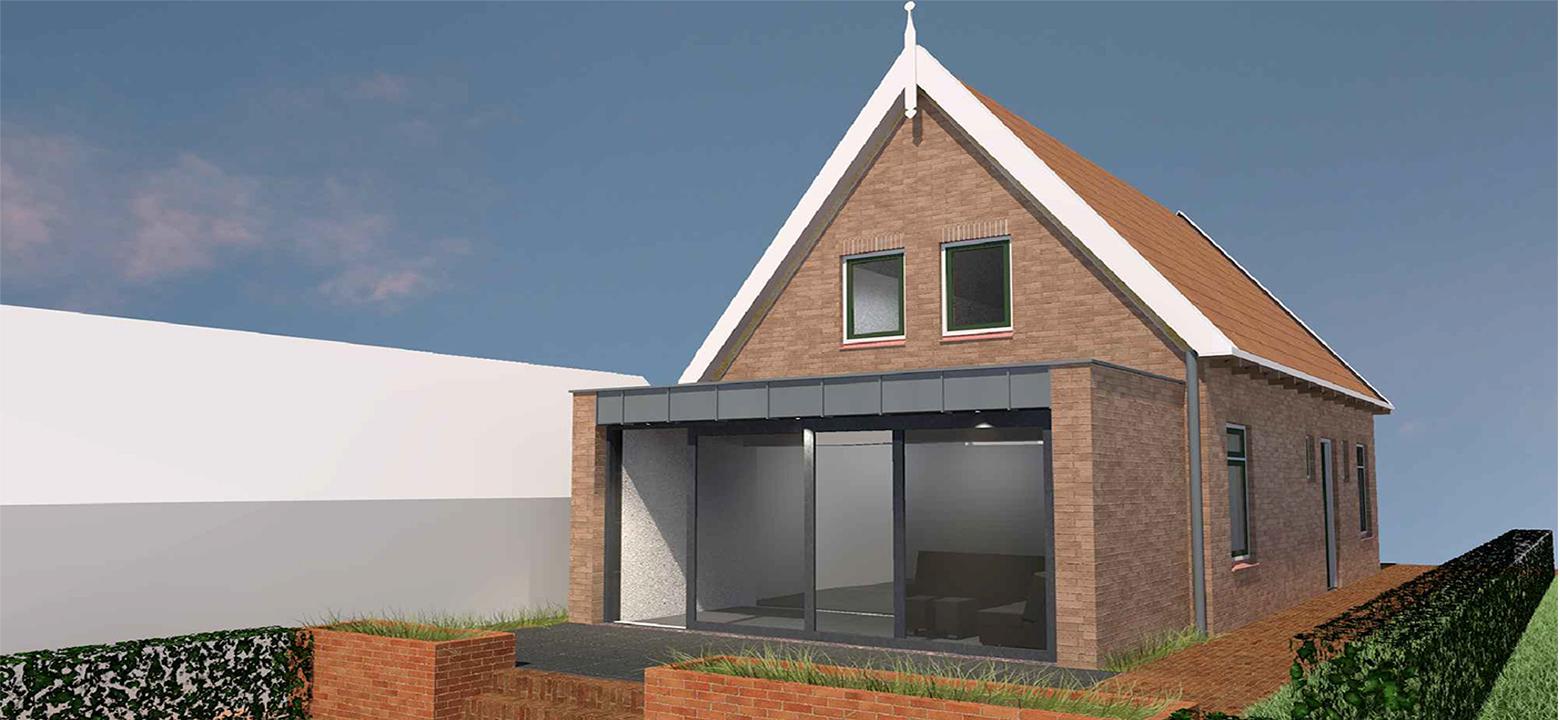 Uitbreiding woning, traditionele architectuur, architectuur beschermd stadsgezicht, architectuur Friesland