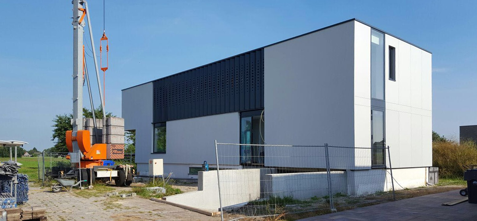 Architectuur moderne minimalistische kubistische villa Friesland