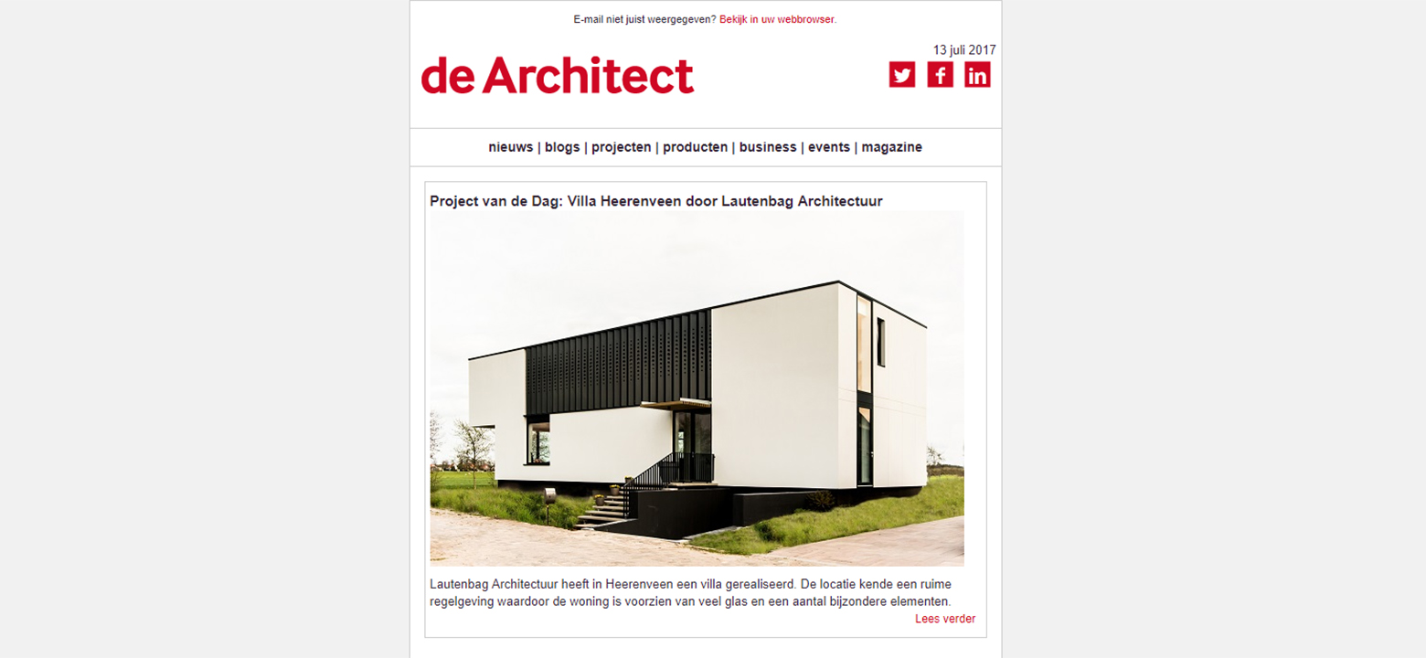 Publicatie project van de dag de Architect