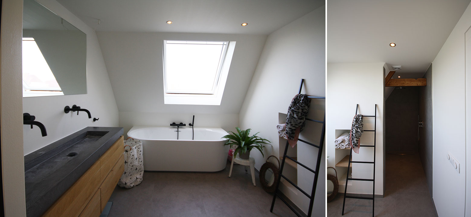 verbouw moderne badkamer